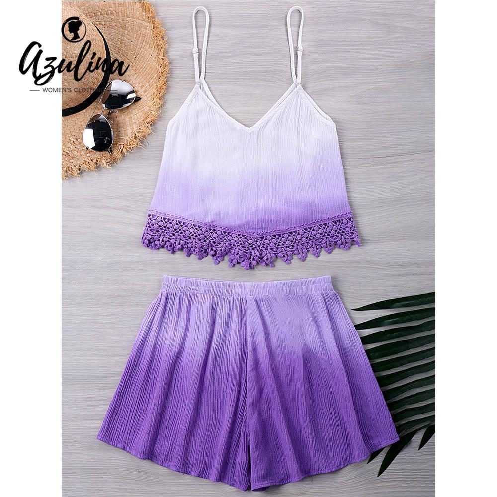 5539ace694022d 2019 20187 AZULINA Crochet Cami Ombre Tank Elastic Waist Shorts Beach  Summer Women Sets 2018 Spaghetti Straps Crop Top Loose Shorts From Huang02