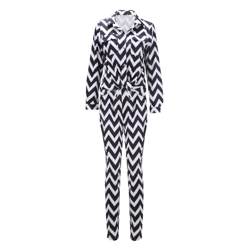Fashion women's clothes Wavy stripes long-sleeved shirt + trousers two-piece suit Europe and the United States sexy casual wear black blue