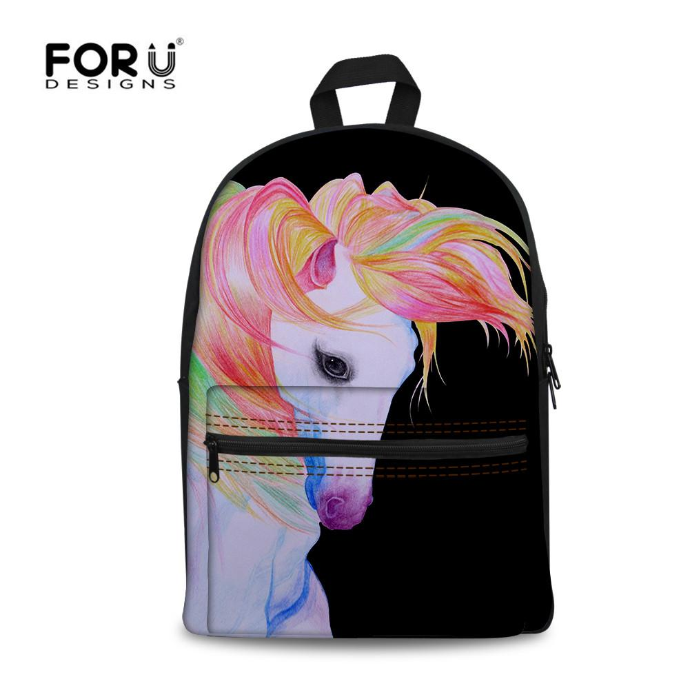 65f427f2df11 FORUDESIGNS Unicorn School Bags For Teenager Girls Women S Horse Large Schoolbag  Backpack Casual Children Book Bag High Quality Small Backpacks Vintage ...