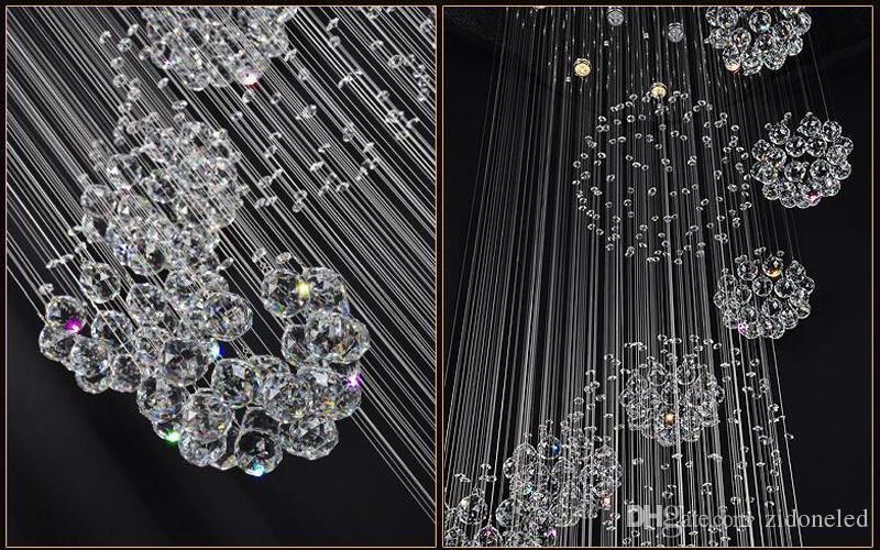 Современный светодиодный хрустальный люстр освещения дождя капля дождя большой лестничный светильник с 11 кристаллов сфера потолочной лампы 13 GU10 лампочки