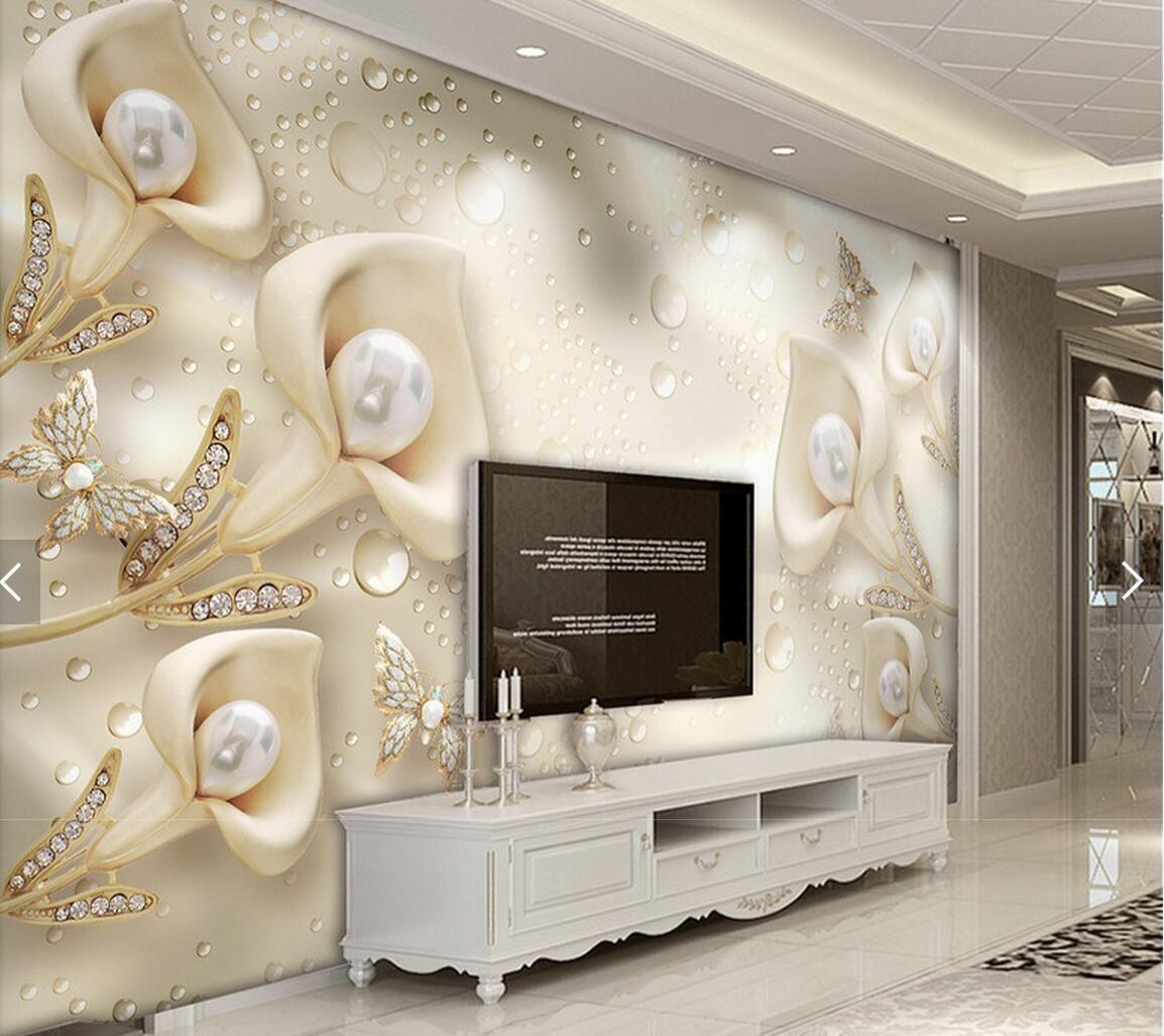 Large 3d European Pearl And Rose Jewelry Tv Background: Großhandel 3D Geprägte Blume Schmuck Perlen Foto Tapete