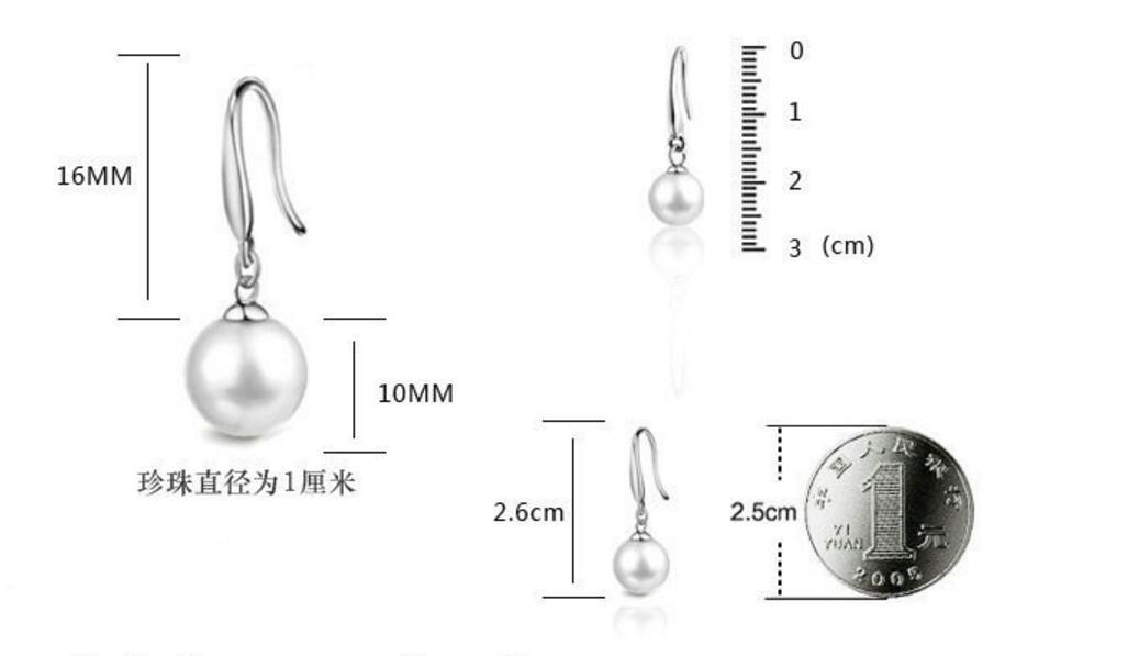 Güzel Nakliye Gümüş Renk İmitasyon İnci Dangle Küpe Kadınlar Için Yeni Takı Çapı 8mm / 10mm / 12mm