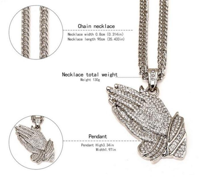 Praying Hands Hiphop Bling Necklace Mens 18k Gold Religous Jewlry Iced Out Prayer Jesus Women Men Gift Plating J053