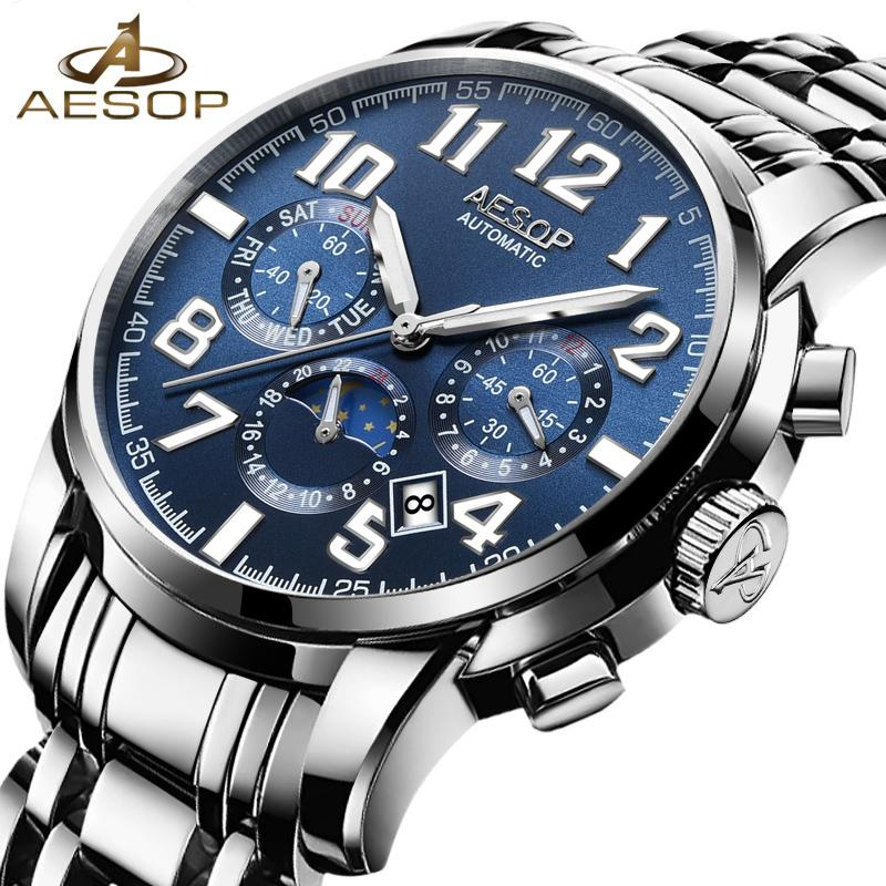 db9bc4ebb11 AESOP Blue Fashion Men Watch Men Automatic Mechanical Wrist Wristwatch Stainless  Steel Male Clock Relogio Masculino Box Brand 50 Cheap Watches Digital ...