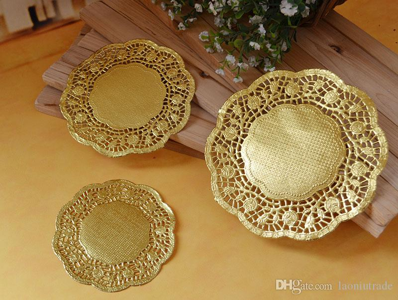 100 Pcs 105 1267cm Gold Round Lace Paper Doilies DoyleysVintage Coasters Placemat Craft Wedding Invitations Table Decoration