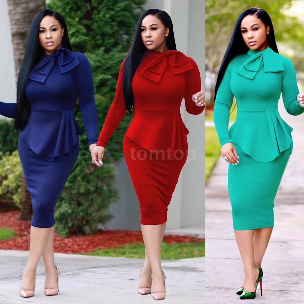 ca165fdf7f8 2019 Formal Dress Women Midi Dress High Neck Long Sleeve Bowknot Ruffles  Solid Slim Bodycon OL Dress From Chasinggg