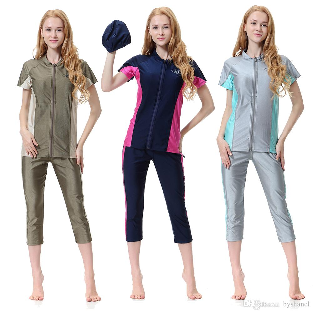 e8425c789d7 New Muslim Women Full Cover Zipped Swimwear S-3XL Plus Size Islamic Short Sleeve  Swimsuit with Hijab Islamic Swimming Wear Muslim Swimsuit Burkini Online ...