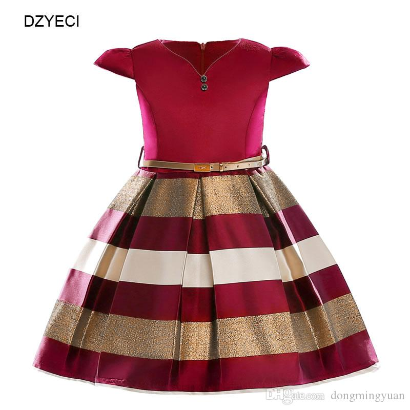 Summer Striped Dresses For Baby Girl Costume Carnaval Children Bow Boutique Party Princess Frock Kid Prom Pageant Dress