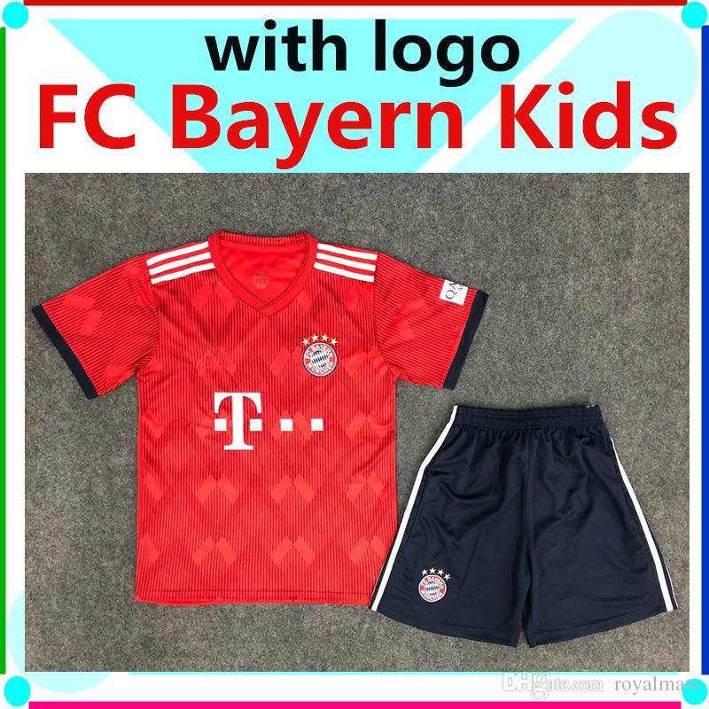 d72fe485cb22 2019 FC Bayern Munich Jersey Kit 2019 Home Red Child Soccer Shirt Shorts  Set 1819 Toddler Boys Football LEWANDOWSKI JAMES MÜLLER München 2018 19  From ...
