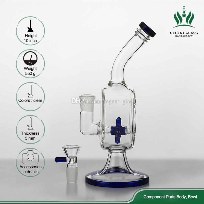 New design 10 inch glass bong water pipe dab rigs bubblers with Vertical Propeller fan perc Water Pipe 18mm glass bowl