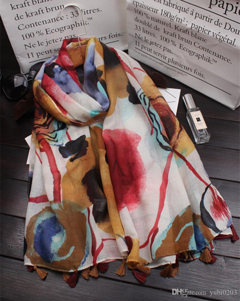 2018 spring new 100% cotton and linen shawl beach sunscreen shawl air-conditioned rooms ethnic style flower pattern printed women's scarves