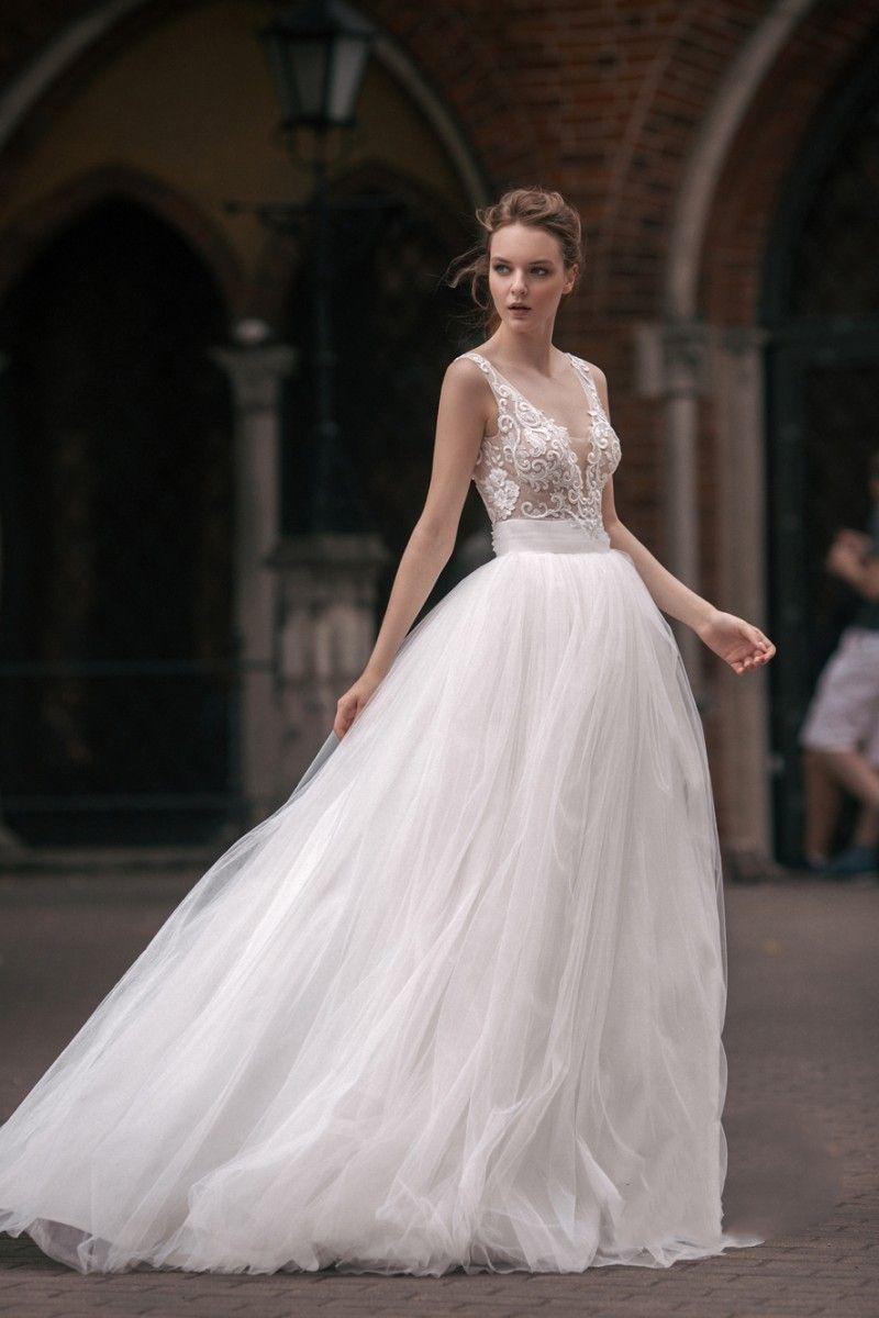 Milva Beach Wedding Dresses Backless V Neck Lace Applique Boho Wedding Gowns Cheap A Line Bohemian Bridal Dress