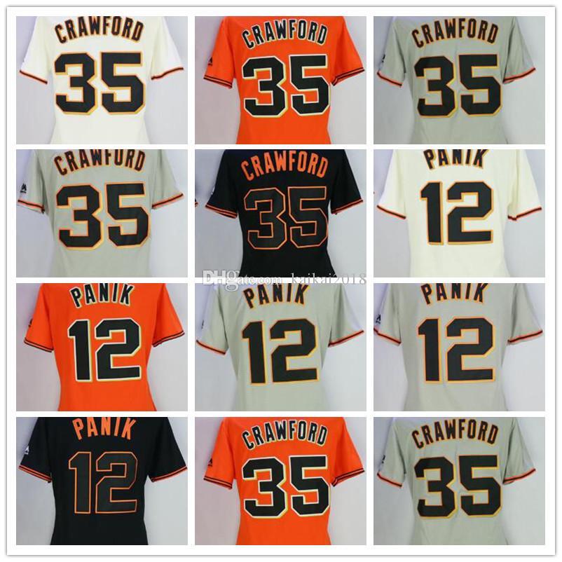 purchase cheap 8c543 4b156 2018 Women SF 35 Brandon Crawford 12 Panik Orange Black White Grey Cool  Base Giant Baseball Jerseys Embroidery Stitched