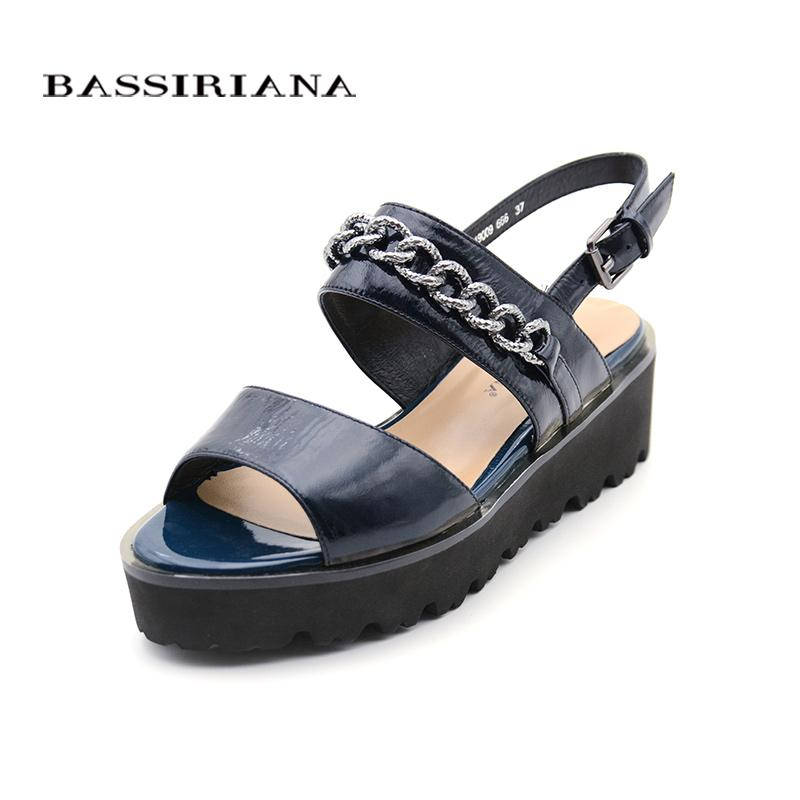 Patent Leather Sandals Woman 2017 Casual Medium Wedges Black Blue Shoes  Woman BASSIRIANA Shoes For Women Nude Wedges From Aiyin b5b2d848362a
