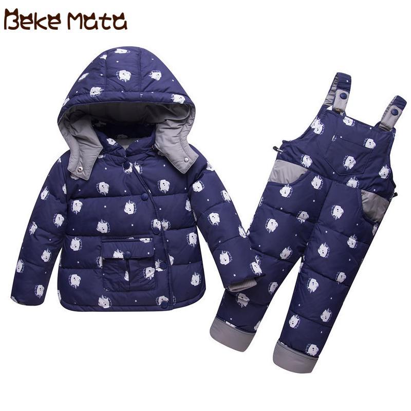 f0798b914 BEKE MATA Abrigos de invierno para bebés niñas conjunto 2018 gruesa niños  calientes chaqueta de Down Niños ropa de niña niño conjunto Coat + ...