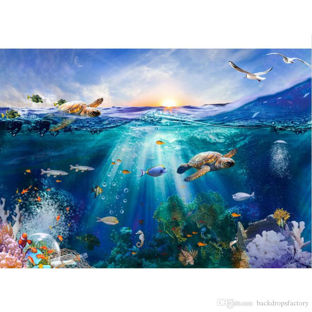 2019 under the sea world photography backdrop printed