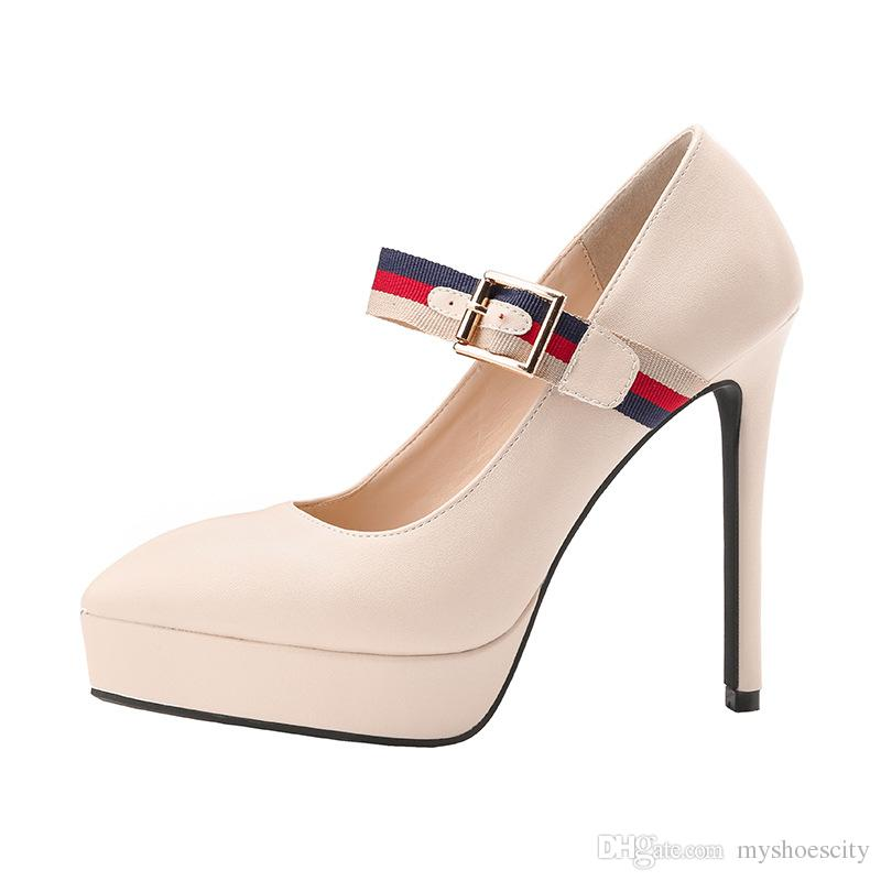 f175241ea51 13cm Concise One Strap Platform High Heels Pumps Women Designer Shoes Red  Blue Black Beige Size 34 To 39 Bass Shoes Skechers Shoes From Myshoescity