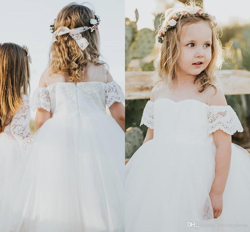 Off Shoulder Cap Sleeve Flower Girl Dresses For Wedding 2019 Lace Ball Gown Kids Party Dress Special Occasion Dress For Little Girls Cheap