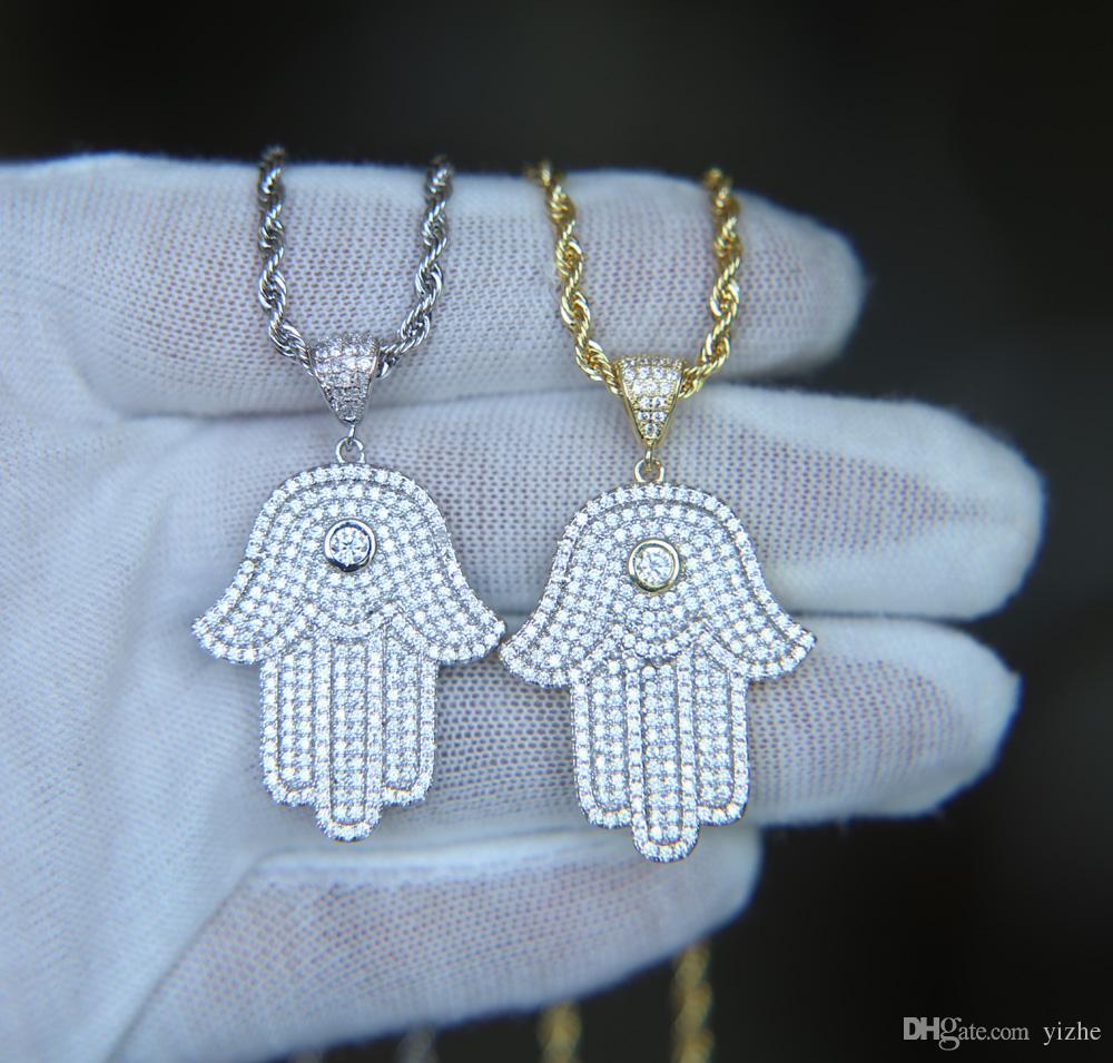 Hip hop bling jóias iced out legal menino mens colar hamsa mão pingente de prata banhado a ouro cz cubic zirconia bling hiphop colar para homens