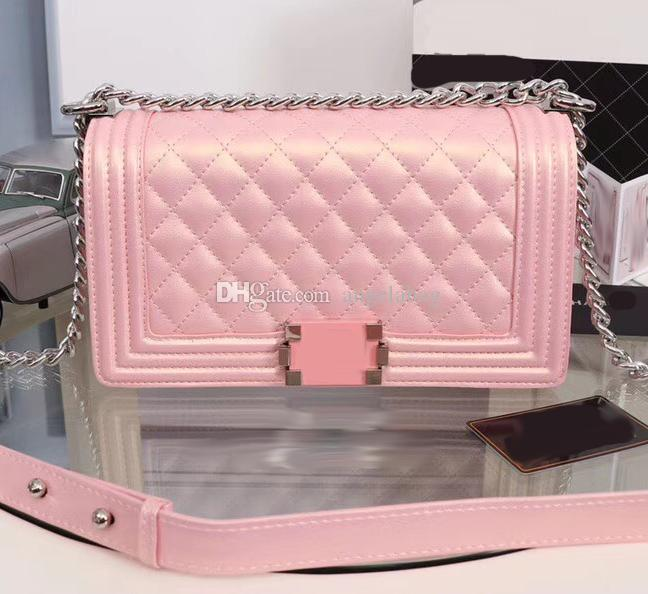 New Design Genuine Leather Pearl Pink Boy Flap Handbag With Silver