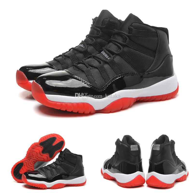 official photos cb525 daedb 2018 New Space Jams 11 Basketball Shoes Bred True Red Black Space Jams  Basketball Women Men High Top Boots