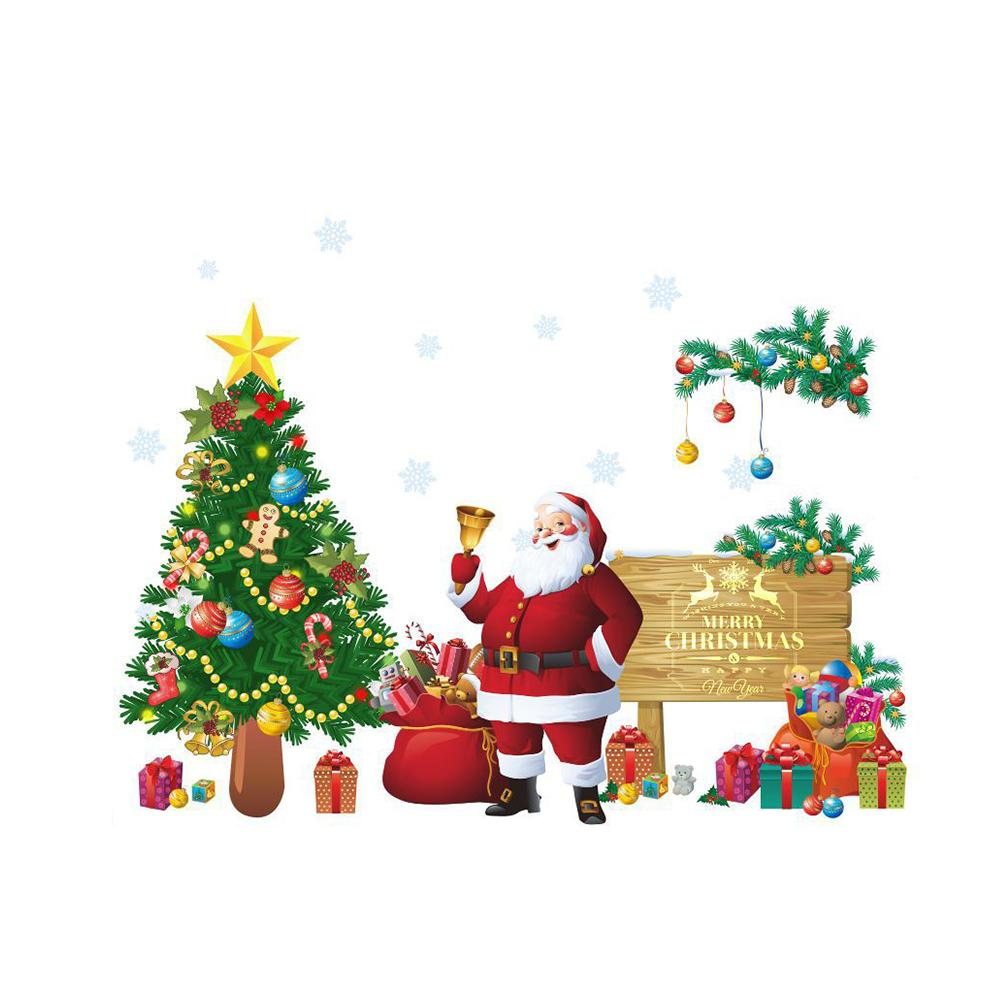 Merry Christmas Wall Decals Santa Claus Xmas Tree Wall Stickers Pvc ...