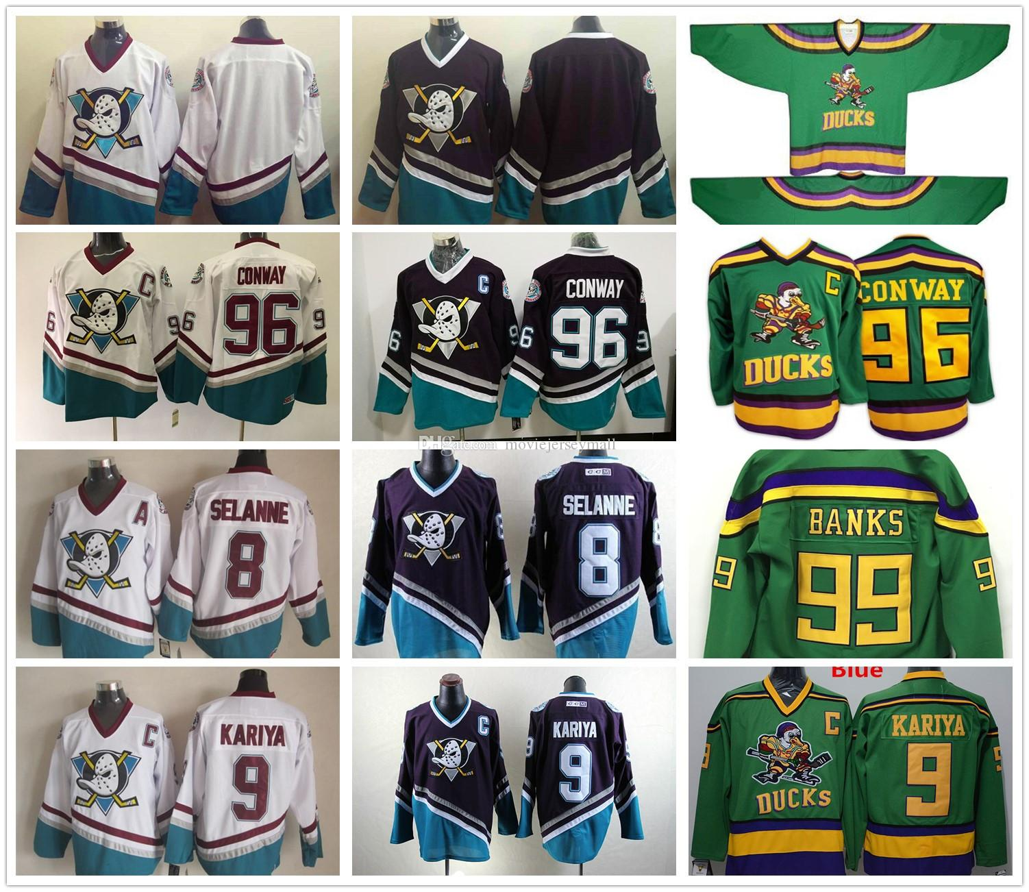 Charlie Conway Jersey Mighty Ducks Movie Jerseys 9 Paul Kariya 8 Teemu  Selanne Mens Green White Purple Hockey Jersey Stitched Sewn UK 2019 From ... 4f0ecf0b9