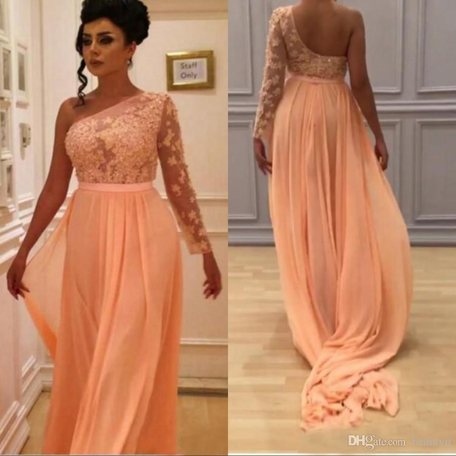 b3ec1ac55a71 One Shoulder Arabic 2018 Prom Dresses Peach Sheer Long Sleeves Lace Chiffon  A Line Yousef Aljasmi Plus Size Elegant Evening Formal Gowns Lavender Prom  ...