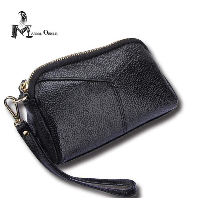 Female Genuine Leather Bags Clutch Purse Wrist Bag for Coins Womans Genuine Leather Wallet Cow Bag