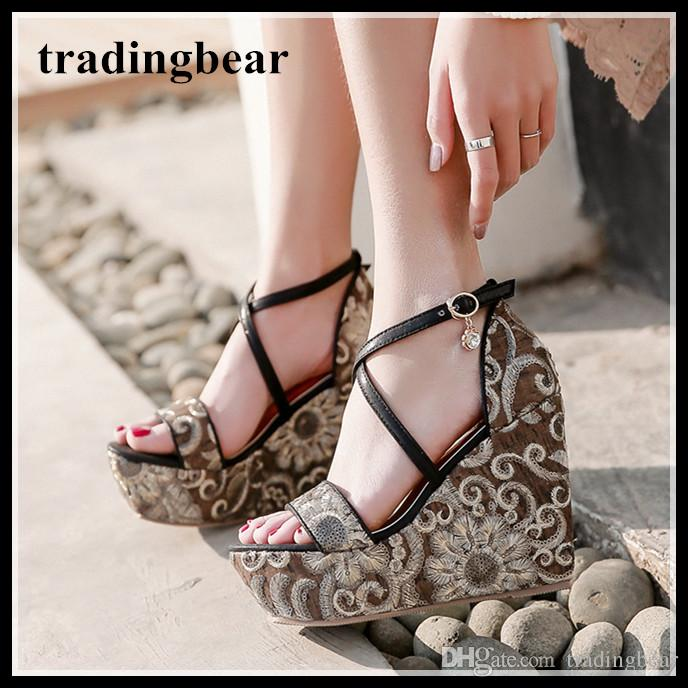 9821af51221f Sequins Embroidery Cross Strap High Platform Wedge Sandals Women Shoes Black  Gold 2018 Size 34 To 39 Canada 2019 From Tradingbear