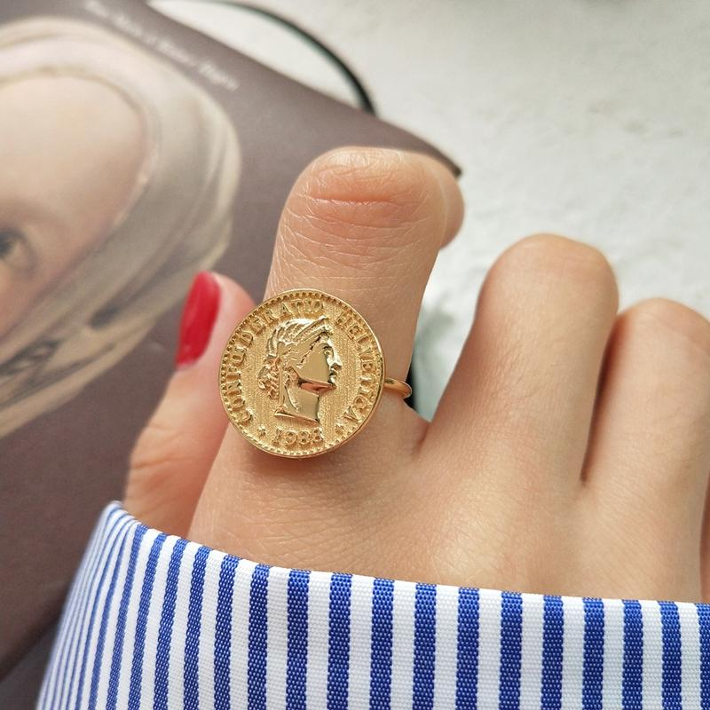 196b96b08ae26 New 925 sterling silver figure coin rings gold fashion personality dollar  avatar coin open rings for women gold charms jewelry