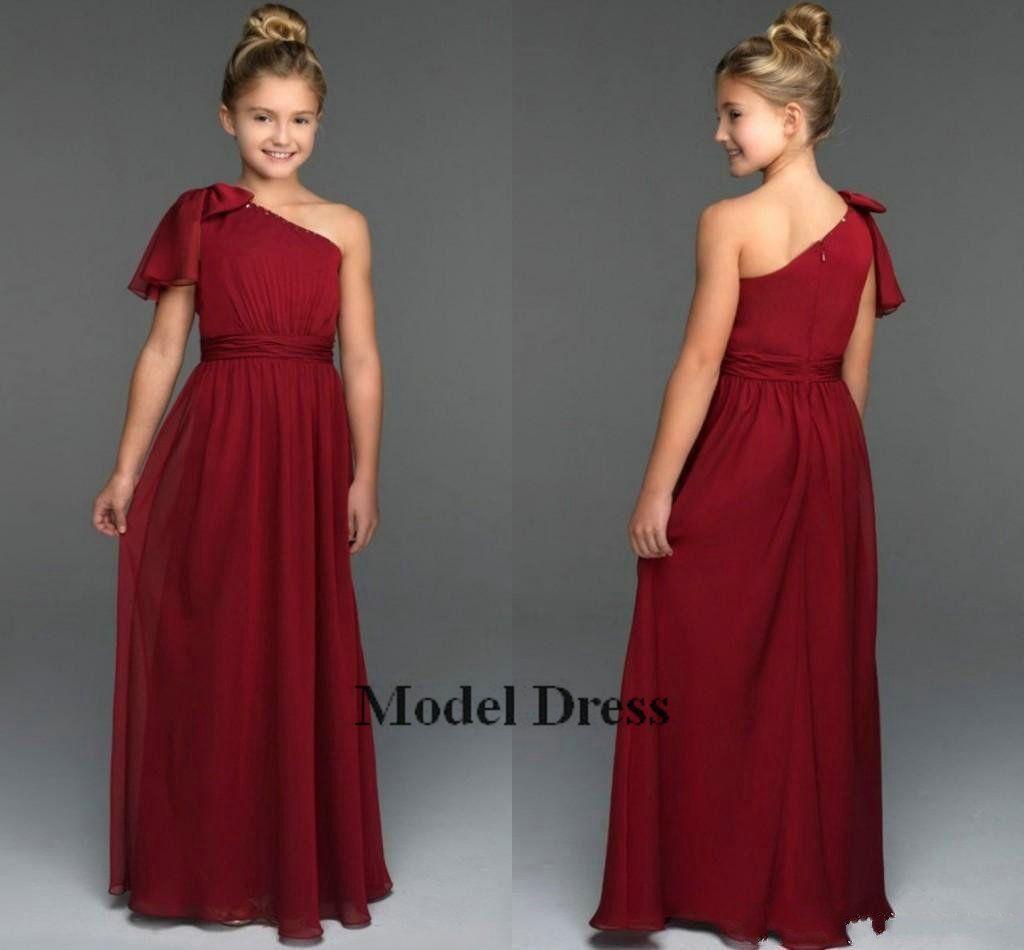2018 Junior Bridesmaids Dresses Chiffon Burgundy