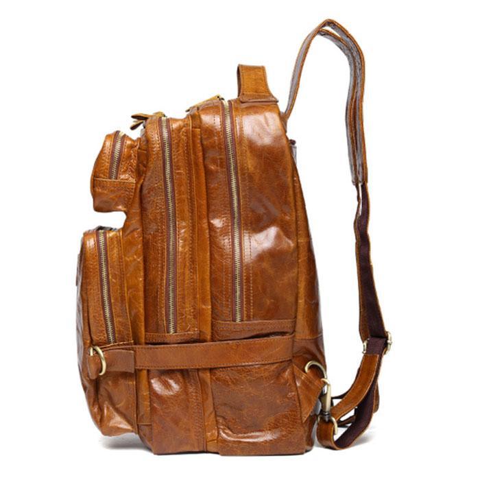 Men's Bags Luggage & Bags Multi-function Cowhide Genuine Leather Mens Backpack Leather School Backpack Bag Rucksack Travel Backpack Bag Khaki Black Brown