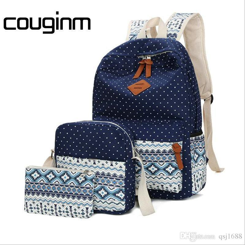 43b12e0c0ee Women Canvas Printing Backpack Cute School Shoulder Bag For Teenage Girls  Vintage Laptop Bag Rucksack Backpack Set