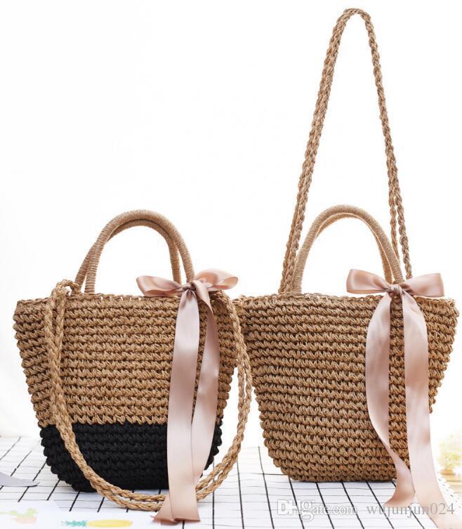 cfbc3ea4bd1e Women Ribbon Bow Straw Bag Female S Woven Crossbody Bag Travel Shopping  Bolsos Men Bags Handbag Wholesale From Wujunjun024