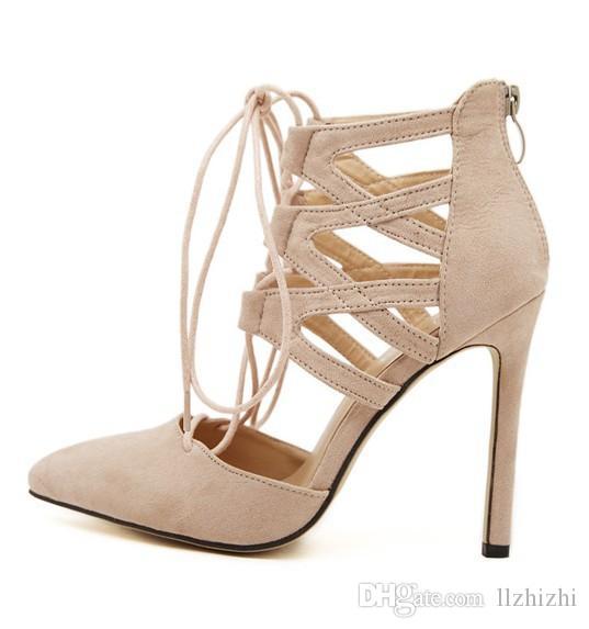 2018 новая европейская и американская женская замшевая шнуровка.Перекрестная шнуровка. молния и высокие каблуки полые.T237