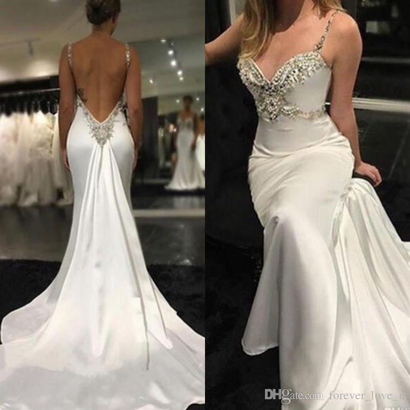 711f7a91f85 Sexy Sparkly Mermaid Wedding Dresses 2019 Crystals Beaded Backless  Spaghetti Straps Beach Wedding Dress Bridal Gowns With Train Wedding Dresses  Online ...