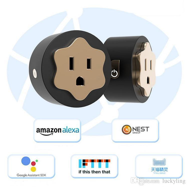 US Plug Voice control Smart Power Socket Plug Basic Wireless WiFi APP Remote Control Timer Switch Power ROUND Adapter