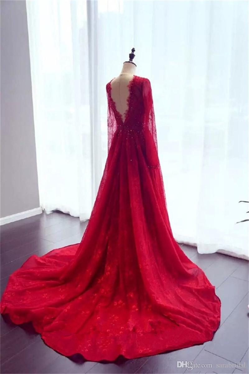 Real Picture 2018 Red Africa Prom Dress Long Sleeve Jewel Lace Applique Beaded Backless A Line Arabic Dresses Formal Evening Wear Plus Size
