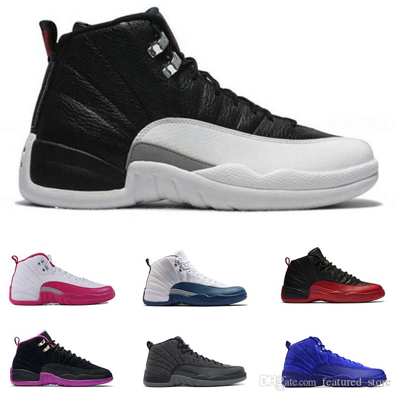 35f971d4e164 12 Men Basketball Shoes White The Master Flu Game Black Gym Red 12s Taxi  Playoffs GS French Blue Cherry Sports Sneakers Eur 41 47 Mens Shoes Sneakers  From ...
