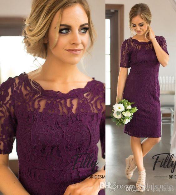 Grape Lace Bridesmaid Dresses Knee Length Cheap Plus Size Wedding Party Dress Zipper Back Cheap Summer Style