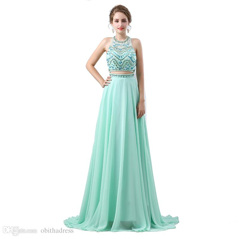 Beautiful And Delicate Two Piece Prom Dresses Hanging Neck ...