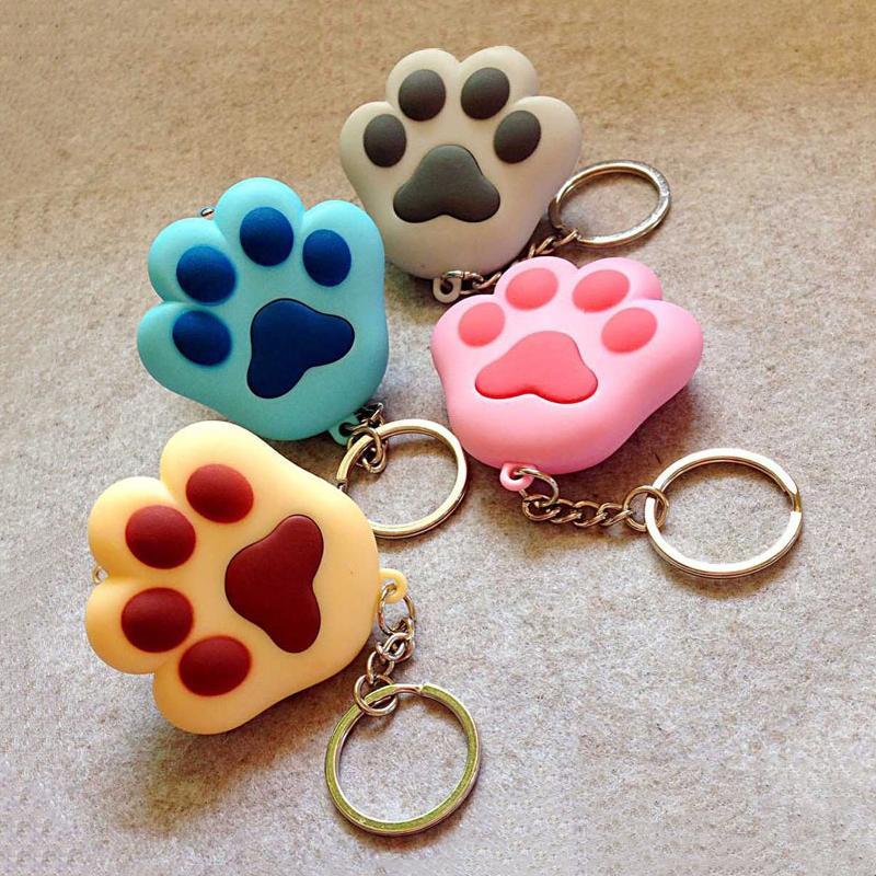 Unisex Car Keychain Girls Chic Cute Cat Footprints Shape Pendant