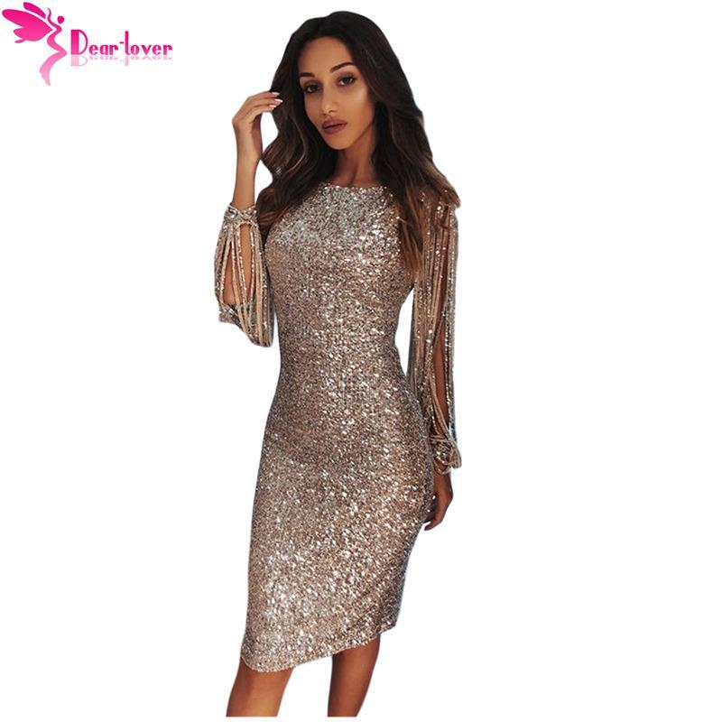 49d3b0442173b Dear Lover Sequin Dress Long Sleeve Party Women Sexy Bodycon Silver Hollow  Out Long Sleeve Midi Dress Vestidos de Festa LC610986