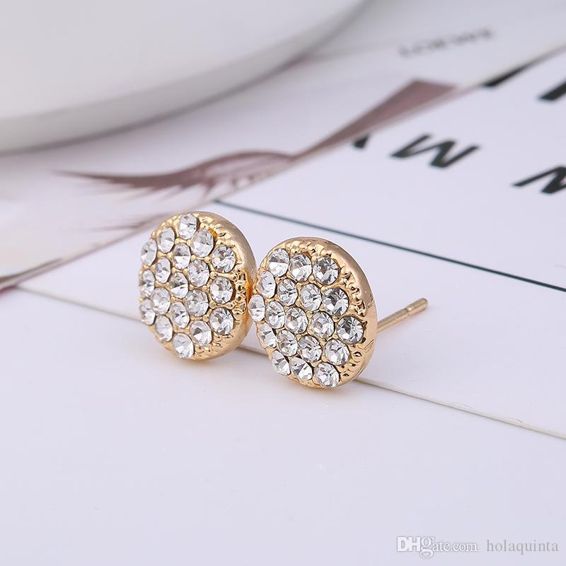 Round Stud Earrings for Women 2018 New 18K Gold Earring Fashion Crystal Earring Ear Jewelry