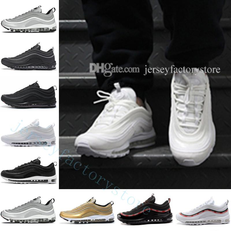 buy online 49919 d1f9a 97 Running Shoes for Men 97s OG QS Metallic Gold Silver Bullet Triple Black  ALL White 3M PRM Athletic Sporst Sneakers Walking Trainers Shoes