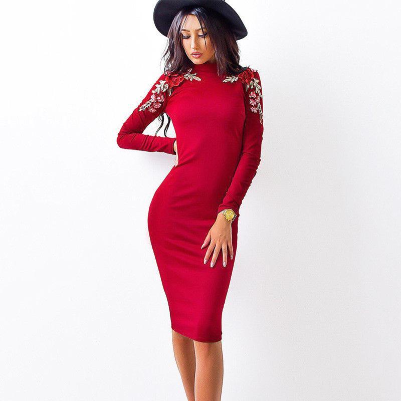 low cost 0f806 dcb78 Vestito aderente da donna con maniche lunghe e maniche lunghe con scollo a  barchetta
