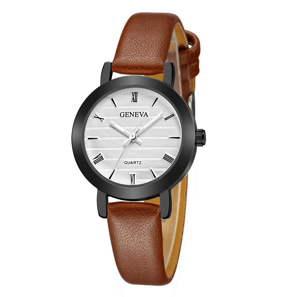 4d141a58ae51 2018 New New Fashion Geneva Women Leather Band Stainless Steel Quartz  Analog Wrist Watch Clock Drop Shipping The Best Watches Discount Watches  From ...