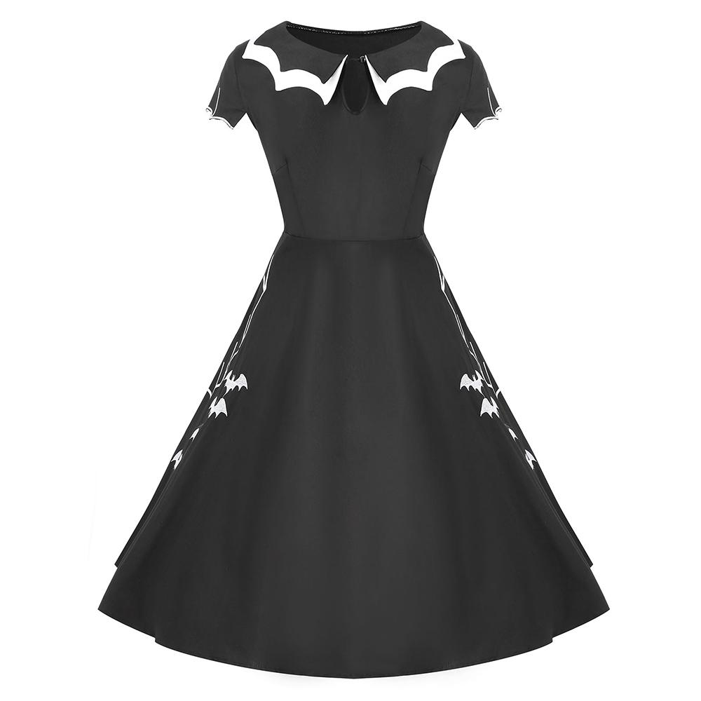 c1163da19 Compre Wipalo Plus Size Das Mulheres Do Vestido De Festa Do Dia Das Bruxas  Gola Redonda Manga Curta Keyhole Bat Vintage Dress Robe Feminino Clothing  ...