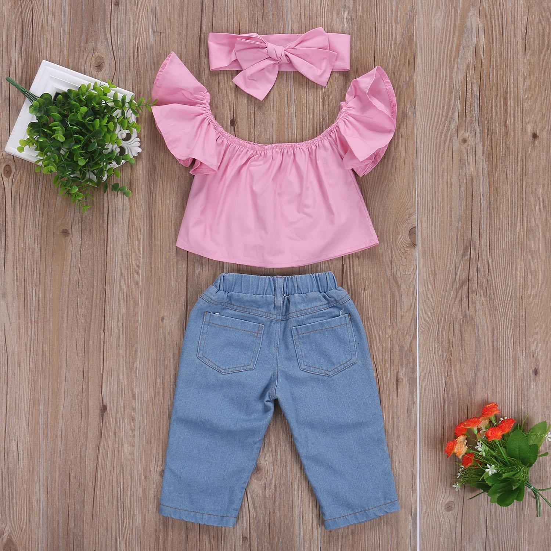 2017 Hot Selling Baby Girl Clothing Set Kids Bebes Girls Toddler Off Shoulder Tops Denim Fishnet Pants Outfits Set Clothes